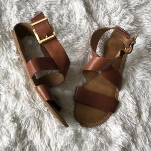 Franco sarto brown leather sandals strap wrap 7